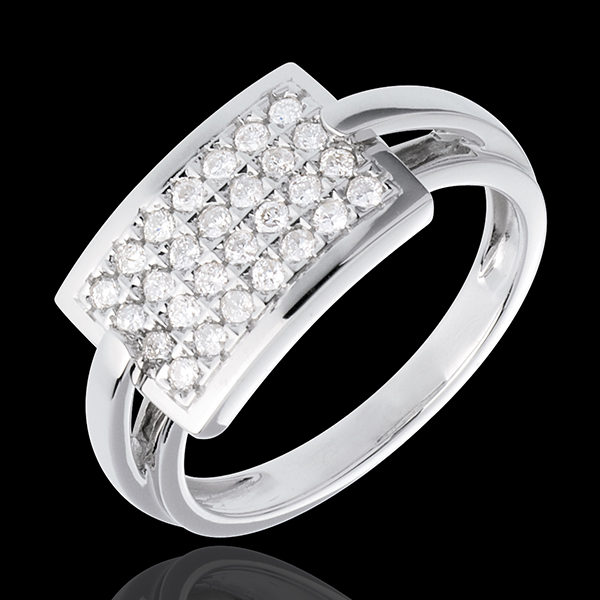 Ring Rectangle in Weissgold - 0.36 Karat - 28 Diamanten