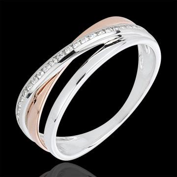Ring Ringen variatie - 18 karaat rozégoud en witgoud met diamanten