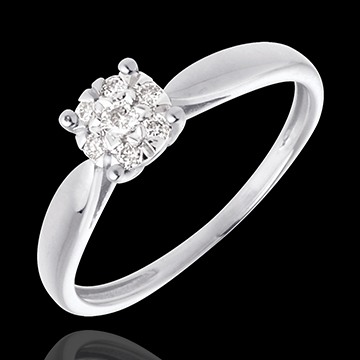 Ring Roseau 18 karaat witgoud bezet - 7 Diamanten - 0.12 karaat