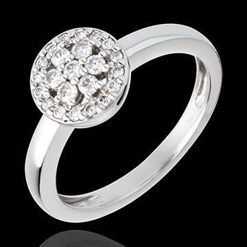 Ring Roseau - pavézetting - 18 karaat witgoud met diamant