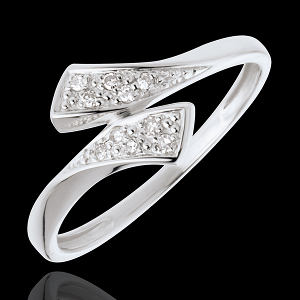 Ring ruban in Weissgold - 10 Diamanten
