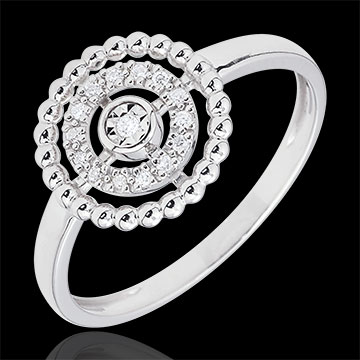 Ring Salty Flower - circle - white gold - 18 carat