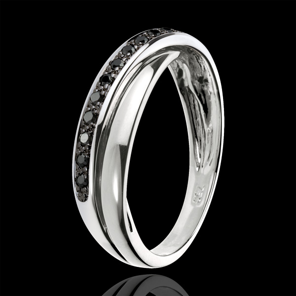 Ring Saturn Diamant - 13 schwarze Diamanten und Weißgold - 9 Karat