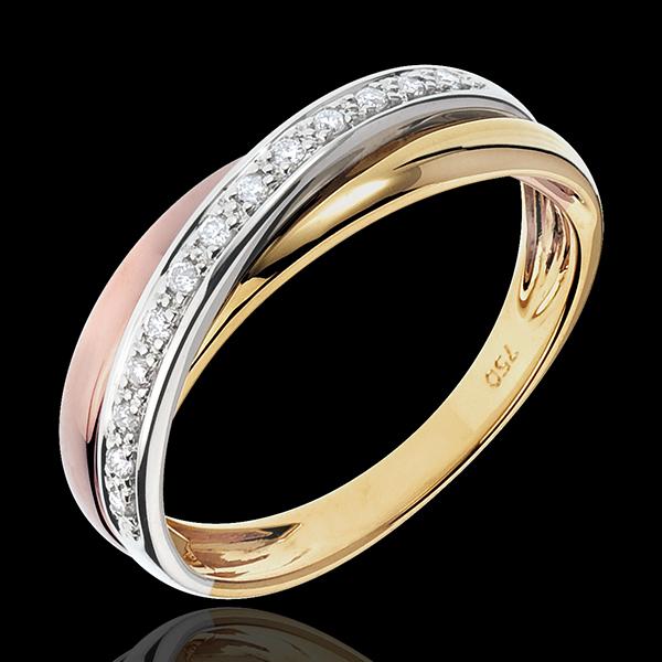 Ring Saturn Diamant - Zweierlei Gold - 18 karat