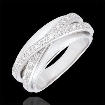 Ring Saturn Mirror - white gold - 23 diamonds