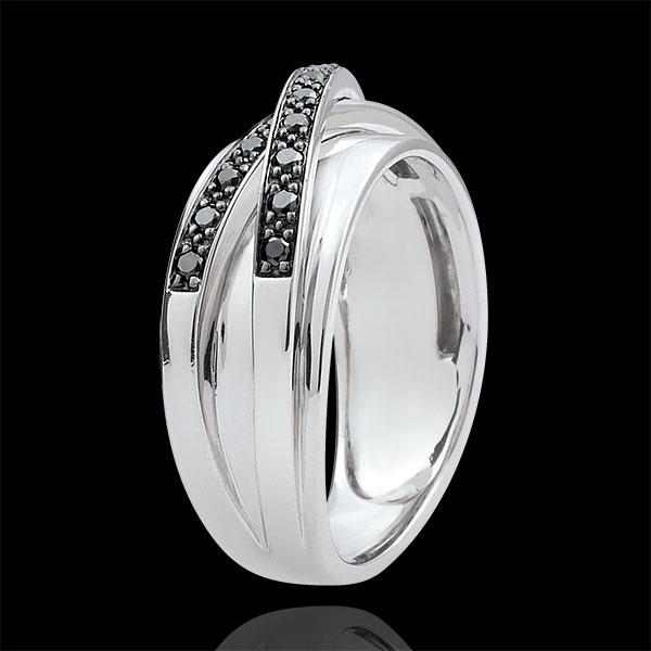 Ring Saturn Mirror - white gold and black diamonds- 23 diamonds - 18 carat