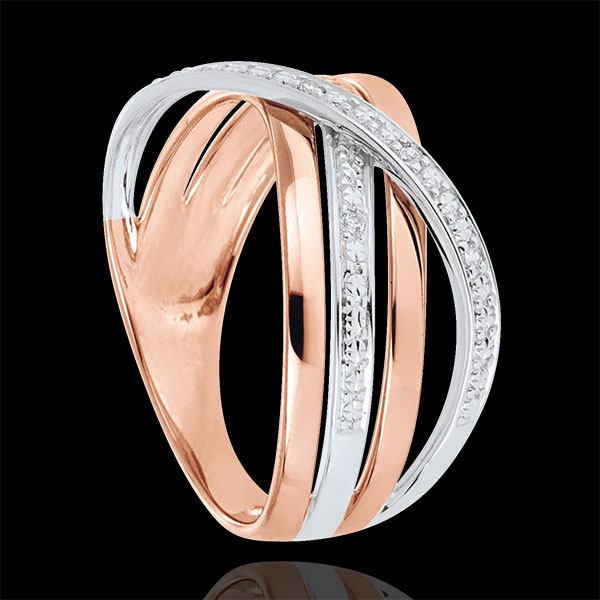 Ring Saturn Quadri - rose gold - 18 carat