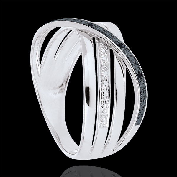 Ring Saturn Quadri - white gold - black and white diamonds - 18 carat