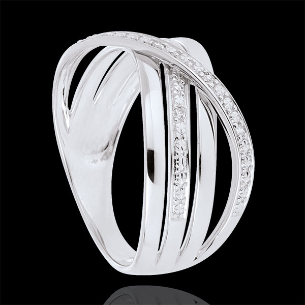 Ring Saturn Quadri - white gold - diamonds - 18 carat