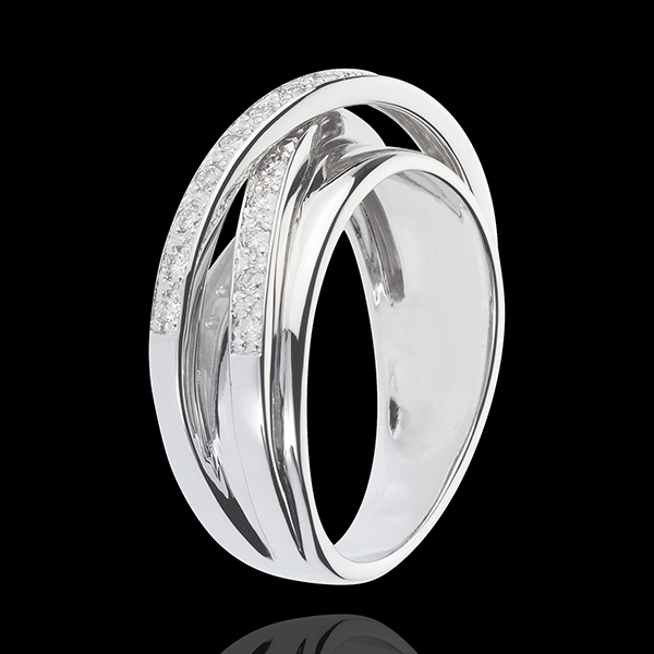 Ring Saturn Spiegel - Weißgold - 23 Diamanten - 9 karat
