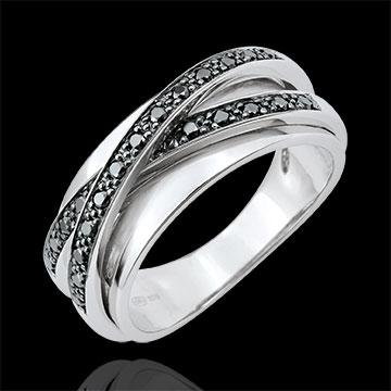 Ring Saturn Spiegel - Weißgold und schwarze Diamanten - 23 Diamanten - 9 karat