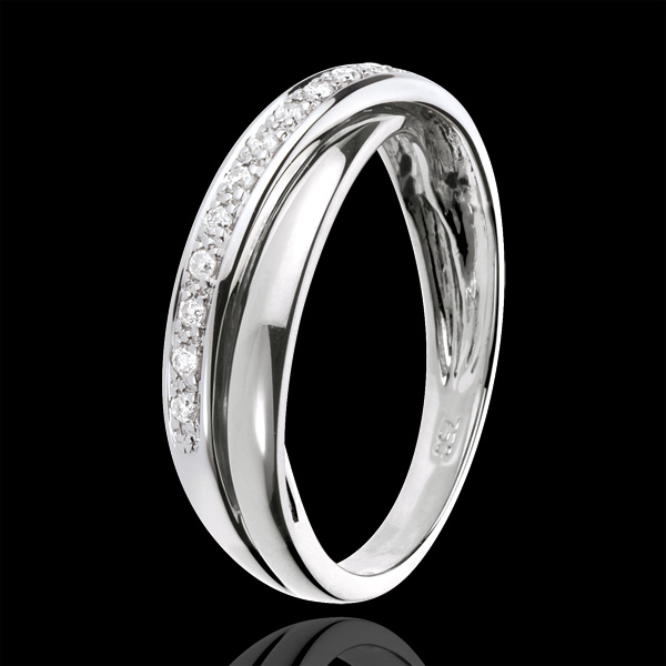 Ring Saturnus Diamant - 9 karaat witgoud