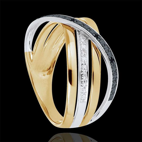 Ring Saturnus Vierling - 18 karaat witgoud en geelgoud - zwarte en witte Diamanten