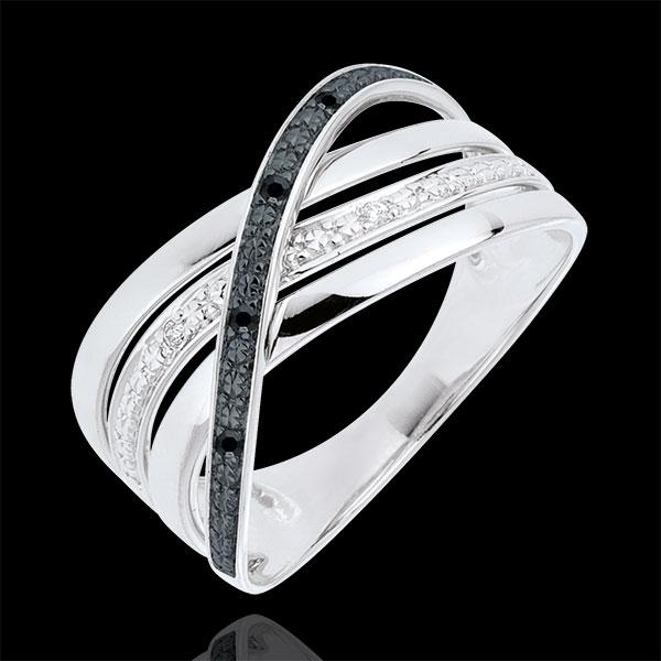 Ring Saturnus Vierling - 18 karaat witgoud - zwarte en witte Diamanten