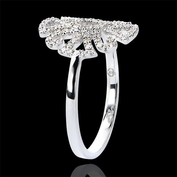 Ring Schicksal - Arabesk Variation - 9 Karat Weißgold und Diamanten