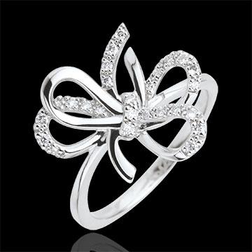 ring verspielte schleife silber und diamanten edenly. Black Bedroom Furniture Sets. Home Design Ideas