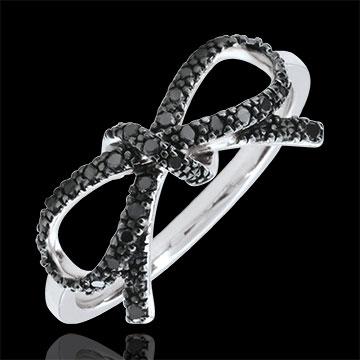 Feine Schleife mit schwarzen Diamanten - Silber und Diamanten