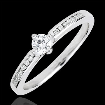 Ring Solitaire Godin - 9 karaat witgoud