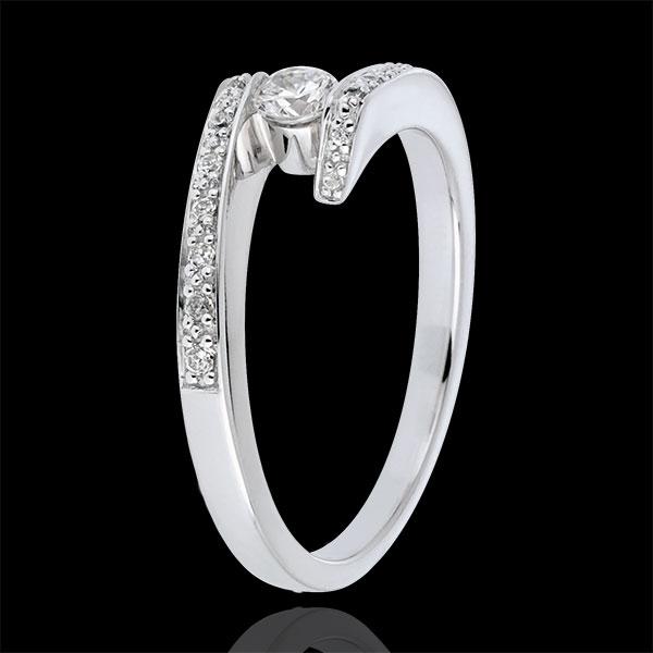 Ring Solitaire Liefdesnest - Belofte - 0.15 karaat Diamant witgoud