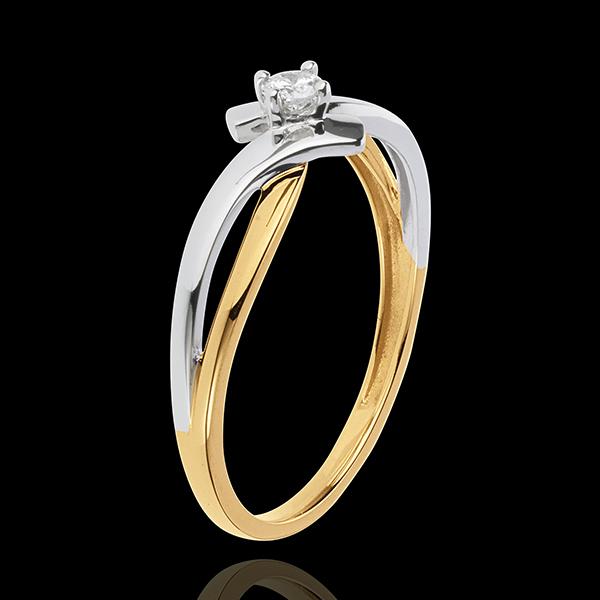 Ring Solitaire Liefdesnest - Chamaille - 18 karaat witgoud en 18 karaat geelgoud - Diamant 0.08 karaat