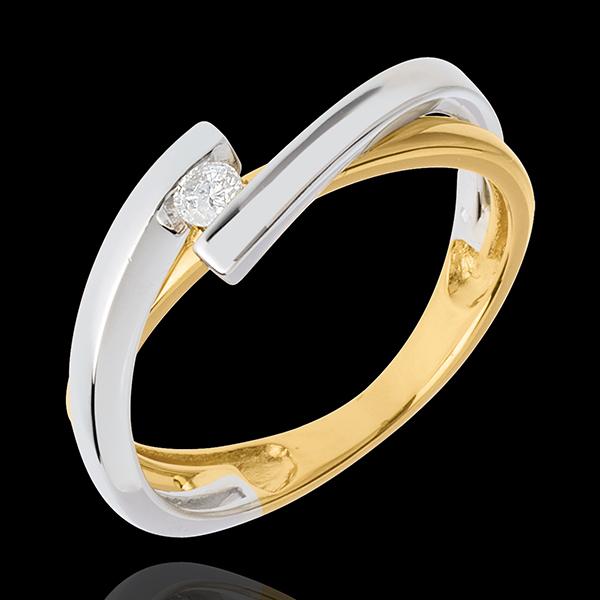 Ring Solitaire Liefdesnest - Mecano 18 karaat witgoud en geelgoud - 0.07 karaat - 18 karaat