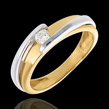 Ring Solitaire Liefdesnest - Tweepolig - 18 karaat witgoud geelgoud