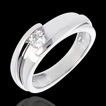 Ring Solitaire Liefdesnest - Tweepolig - 18 karaat witgoud (Zeer Groot Model) - 0.31 karaat - 18 karaat