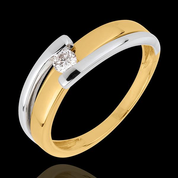 Ring Solitaire Tweepolig - 0.11 karaat - 18 karaat witgoud en geelgoud