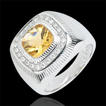 Ring Sonnenauge - Silber, Diamanten und Halbedelsteine