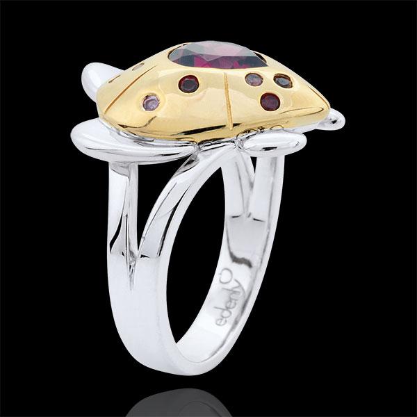 Ring Spaziergang der Sinne - Schildkröte der Liebe - Silber und Halbedelsteine