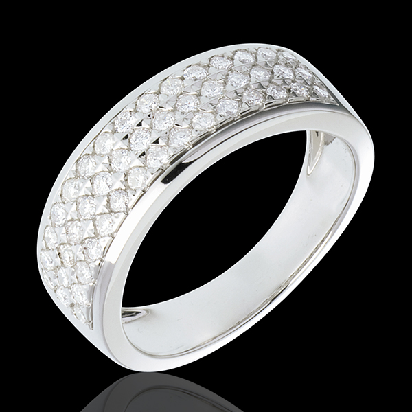 Ring Sterrenbeeld - Astraal - klein model - 18 karaat witgoud geplaveid - 0,63 karaat - 45 Diamanten