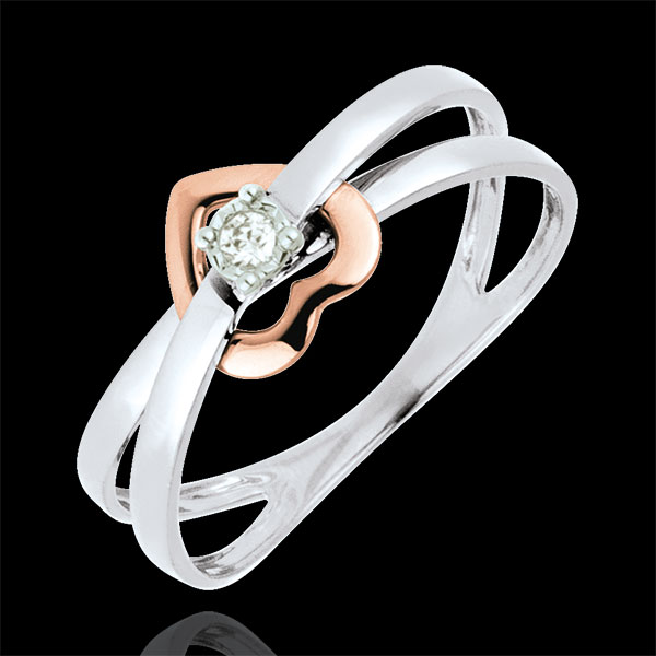 Ring Swinging Heart - Pink gold and white gold