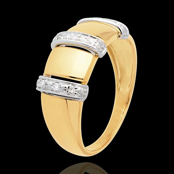 Ring Triade 18 karaat geelgoud met pavézetting - 9 Diamanten