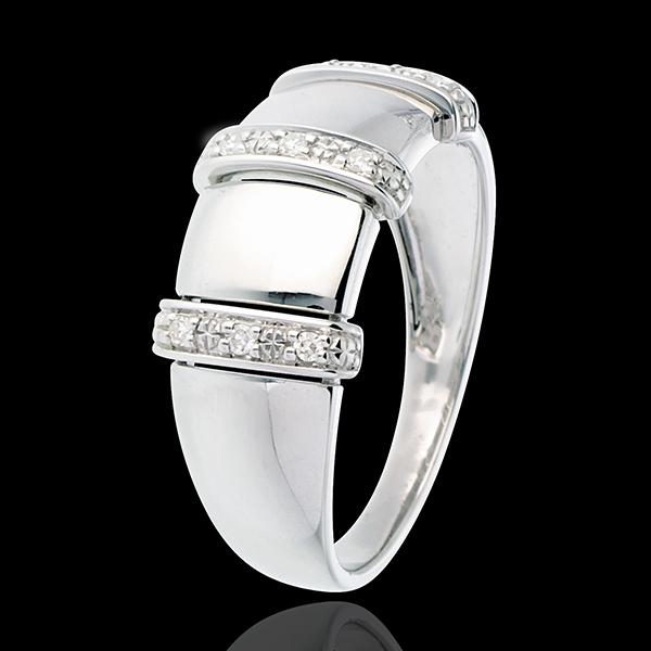 Ring Triade 18 karaat witgoud met pavézetting - 9 Diamanten