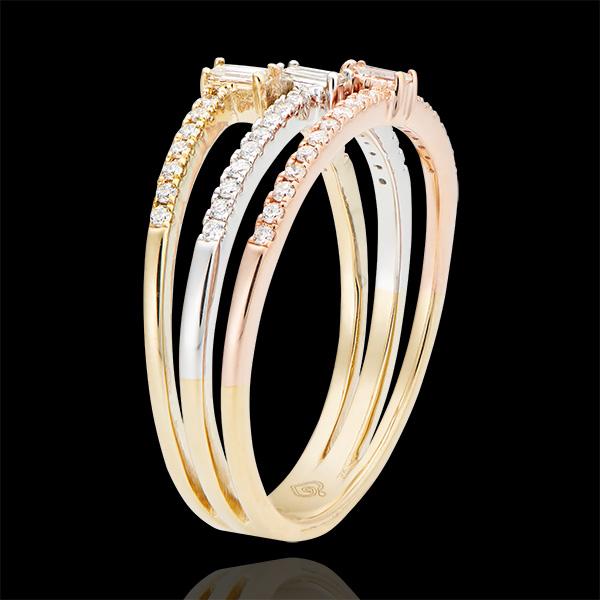 Ring Trilogie - 3 soorten goud 9 karaat en diamanten