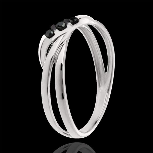 Ring Trilogie Weißgold mit schwarzen Diamanten