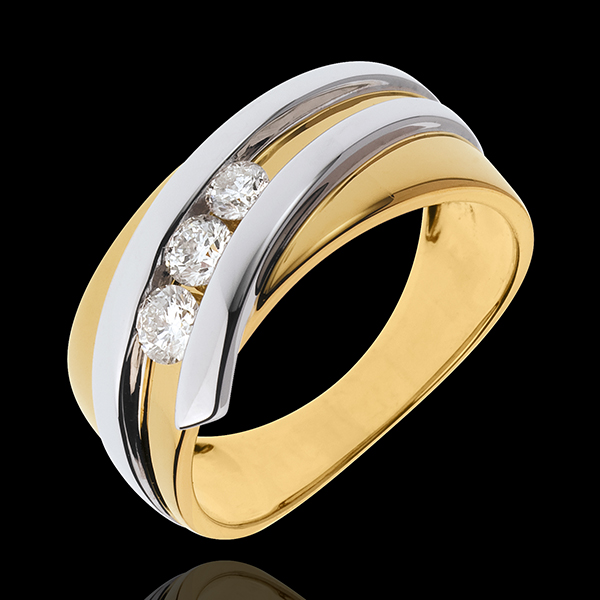 Ring Trilogy Precious Nest - Priscilla - yellow gold and white gold - 0.31 carat - 3 diamonds - 18 carats