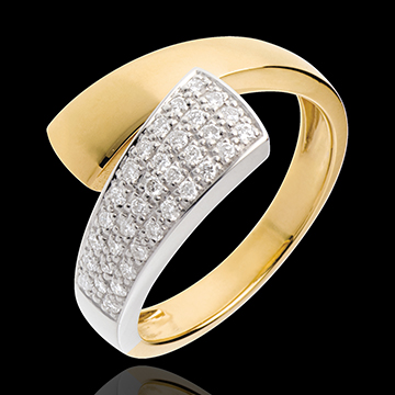 Ring tropique in Gelbgold - 0.26 Karat - 34 Diamanten