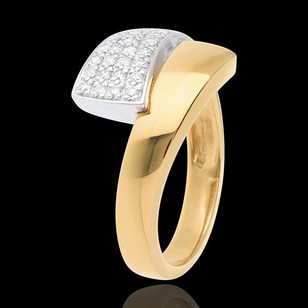 Ring Tropisch pavézetting - 18 karaat geelgoud - 0.26 karaat - 34 Diamanten