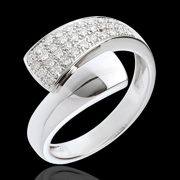 Ring Tropisch pavézetting - 18 karaat witgoud - 0.26 karaat - 34 Diamanten