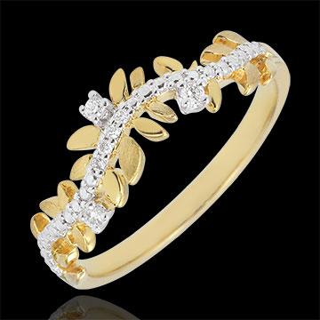 Ring Verzauberter Garten - Königliches Blattwerk - Diamant und Gelbgold - 18 Karat