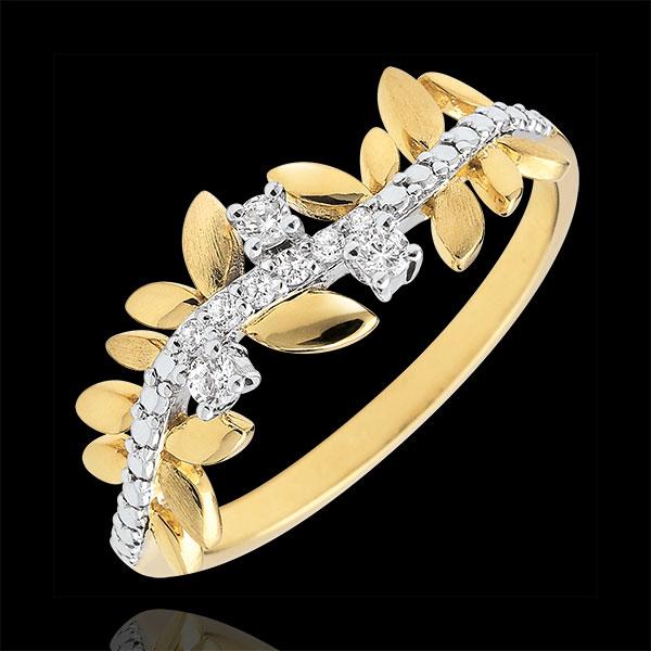 Ring Verzauberter Garten - Königliches Blattwerk - Großes Modell - Gelbgold und Diamanten - 9 Karat