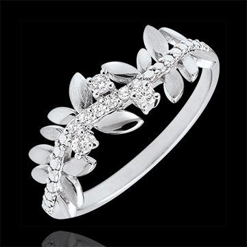Ring Verzauberter Garten - Königliches Blattwerk - Großes Modell - Weißgold und Diamanten - 9 Karat