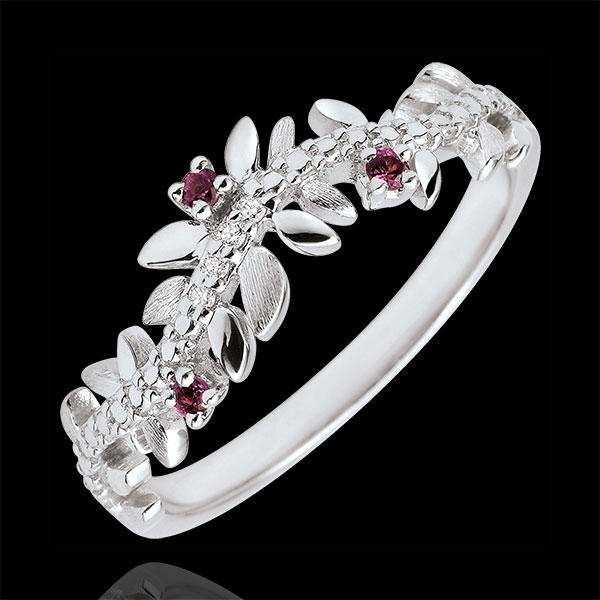 Ring Verzauberter Garten - Königliches Blattwerk - Weißgold, Diamanten und Rhodolite - 9 Karat