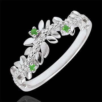 Ring Verzauberter Garten - Königliches Blattwerk - Weißgold, Diamanten und Smaragden - 9 Karat