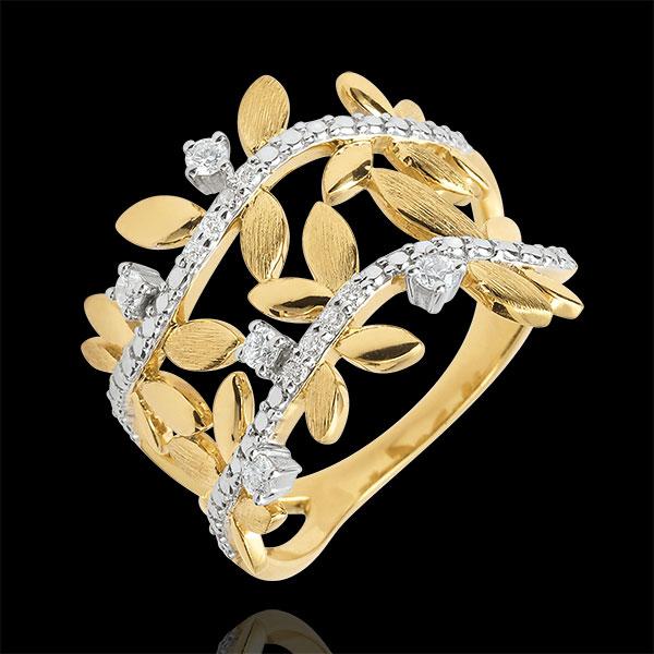 Ring Verzauberter Garten - Zweifach Königliches Blattwerk - Gelbgold und Diamanten - 9 Karat