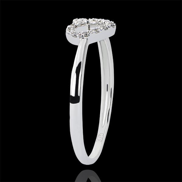 Ring Vielfalt - Kleines Herz - 9 Karat Weißgold und Diamanten