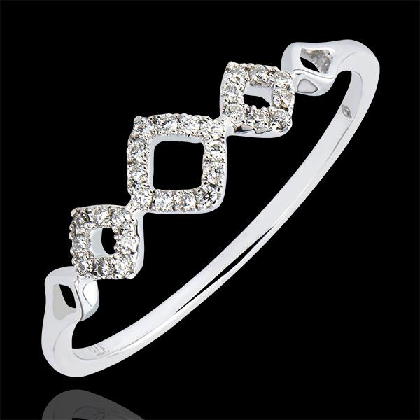 Ring Vielfalt - Rhombisch - 9 Karat Weißgold und Diamanten