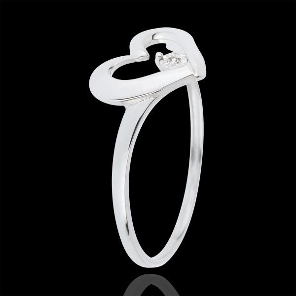Ring waardevol hart - 0.01 karaat Diamant - 18 karaat witgoud