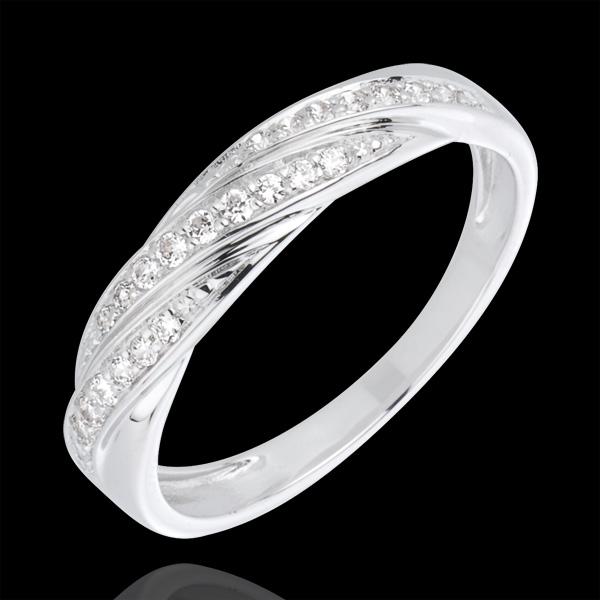 Ring waardevol vlechtje 18 karaat witgoud met diamant